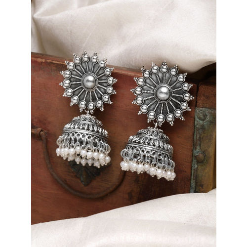 Infuzze Silver-Plated & Off-White Dome Shaped Jhumkas