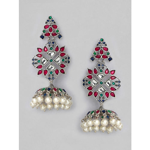 Rubans Silver-Plated Oxidised Handcrafted Classic Jhumkas