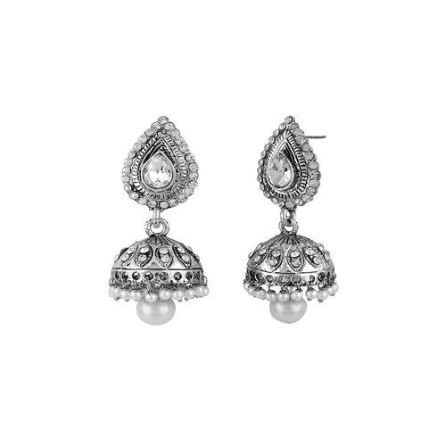 Jewels Guru silver brass jhumka earring