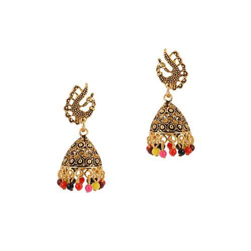 Silver Shine multi colored metal jhumka earring