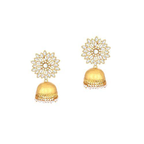 Sukkhi gold brass jhumka earring