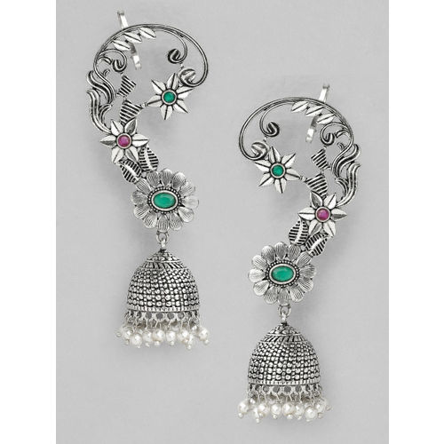 Rubans Green & Pink Oxidised Silver-Plated Stone-Studded & Beaded Handcrafted Ear Cuff