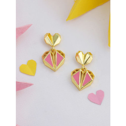 Voylla Gold-Plated & Pink Heart Shaped Drop Earrings