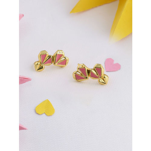 Voylla Gold-Plated & Pink Heart Shaped Studs