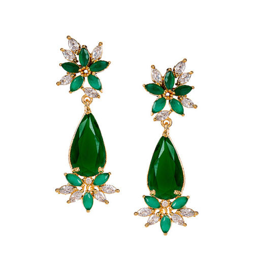 Bhana Fashion Gold-Plated & Green Floral Drop Earrings