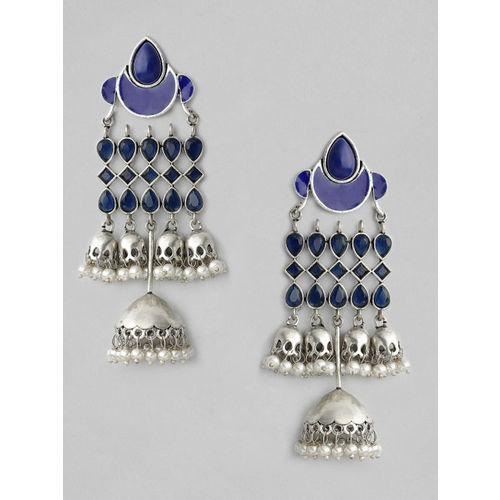 Rubans Silver-Plated Blue Handcrafted Dome Shaped Jhumkas