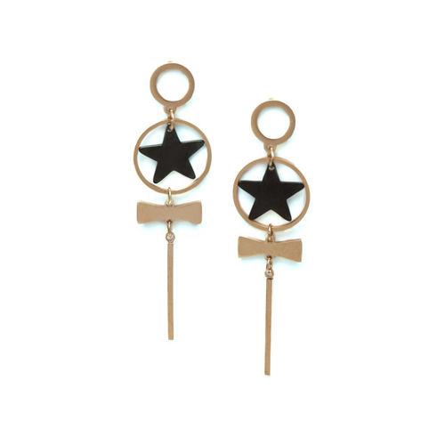 AVANT-GARDE PARIS Black & Rose Gold-Plated Star Shaped Drop Earrings