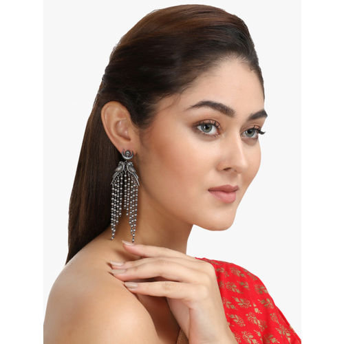 Adwitiya Collection Silver-Plated Oxidised Quirky Drop Earrings