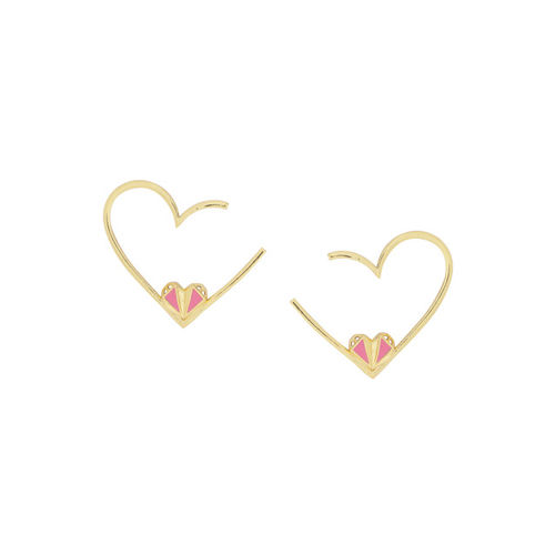 Voylla Gold-Plated Heart Shaped Studs