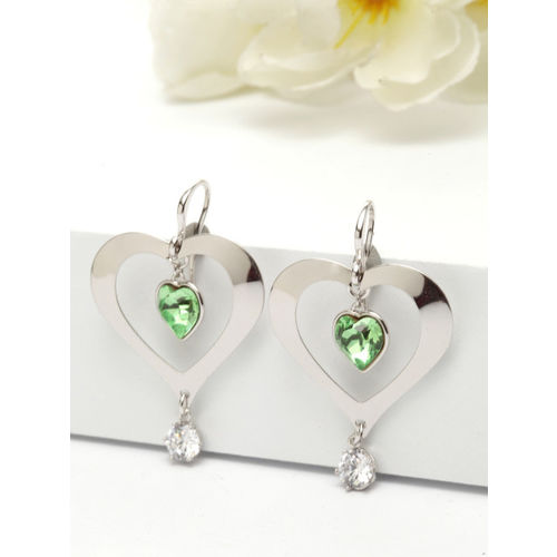 AVANT-GARDE PARIS Green & Silver-Toned Rhodium-Plated Crystallized with Swarovski Earrings
