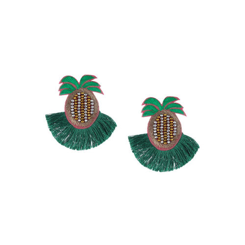 Adwitiya Collection Green & Gold-Plated Quirky Drop Earrings