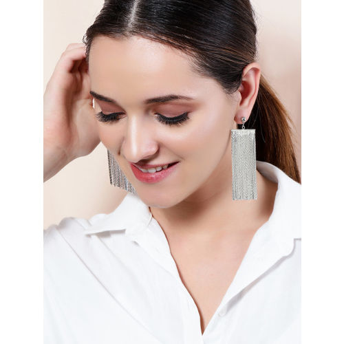 Rubans Silver-Plated Handcrafted Classic Drop Earrings