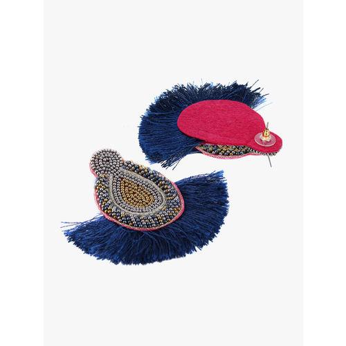 Adwitiya Collection Blue & Gold-Plated Teardrop Shaped Drop Earrings