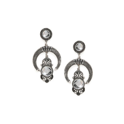 Rubans Silver-Plated & White Classic Drop Earrings