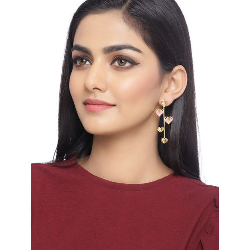 Voylla Gold-Plated & Pink Quirky Drop Earrings