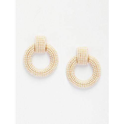 AVANT-GARDE PARIS Gold-Plated & Off-White Circular Drop Earrings