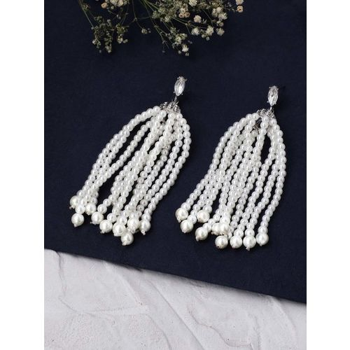 Rubans White Silver-Plated Handcrafted Classic Drop Earrings