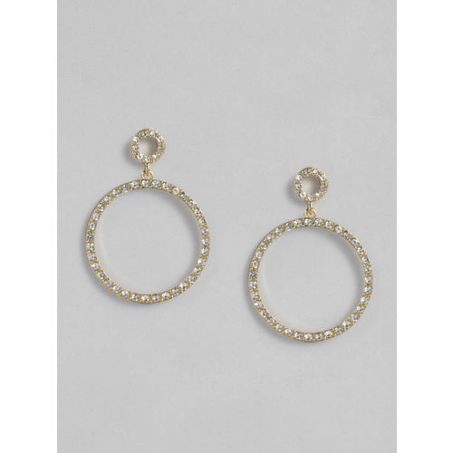 Accessorize Gold-Toned & White Circular Drop Earrings