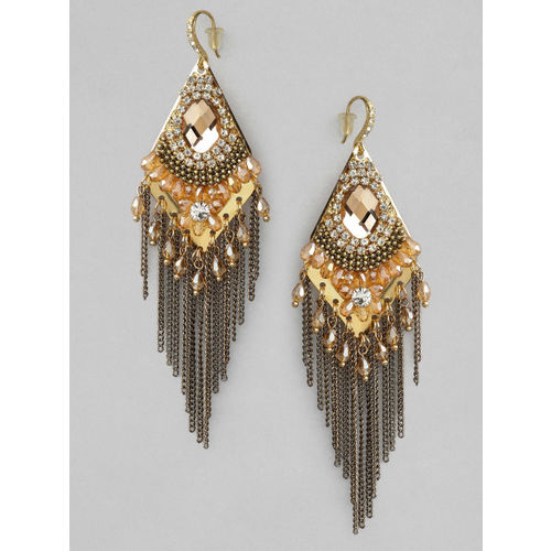 Rubans Gold-Plated Handcrafted Geometric Drop Earrings