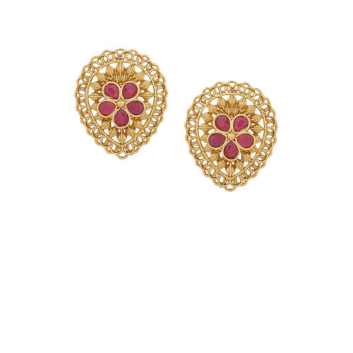 Voylla Gold-Plated & Pink Handcrafted Classic Studs