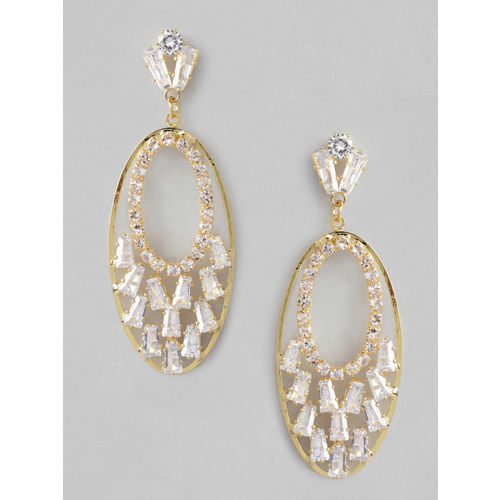 Rubans Gold-Plated Handcrafted American Diamond Stone Studded Oval Drop Earrings