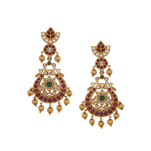 Voylla Gold-Plated & Red Classic Drop Earrings