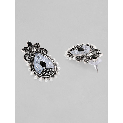 Rubans Silver-Plated & Black Oxidised Handcrafted Classic Drop Earrings