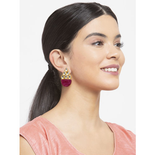 Infuzze Magenta & Gold-Toned Brass-Plated Stone-Studded Handcrafted Drop Earrings