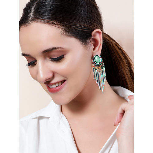 Rubans Blue & Gold-Toned Handcrafted Classic Drop Earrings