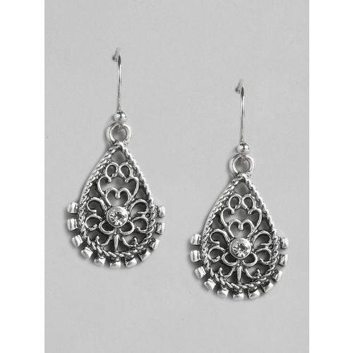 Accessorize Silver-Toned Crystal Oxidised Teardrop Shaped Drop Earrings