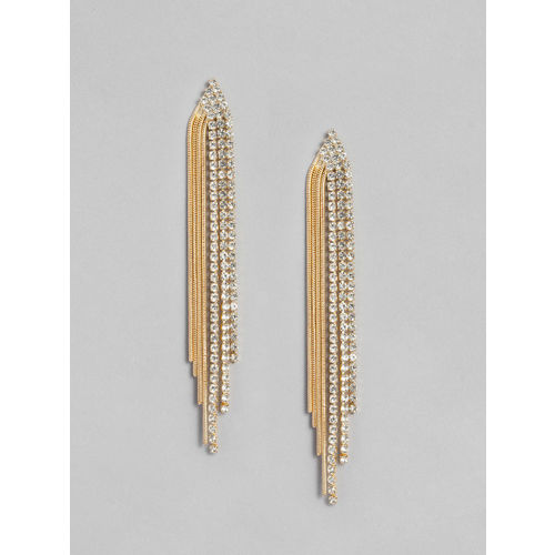 Accessorize Gold-Toned Stoned Studded Tasselled Contemporary Drop Earrings