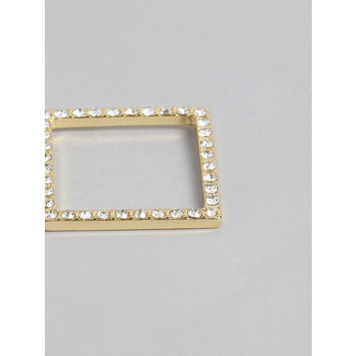 Accessorize Gold-Toned & White Square Drop Earrings