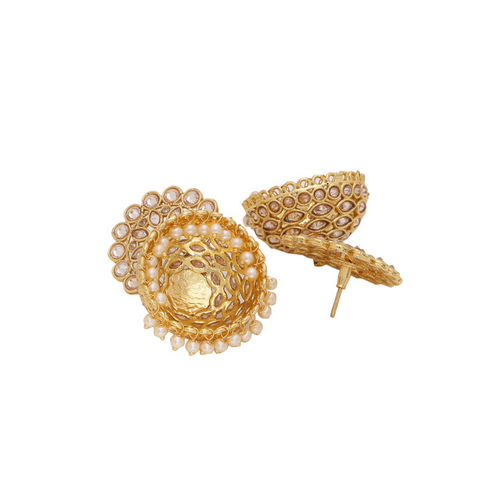 Voylla Gold-Plated & Pink Handcrafted Dome Shaped Jhumkas