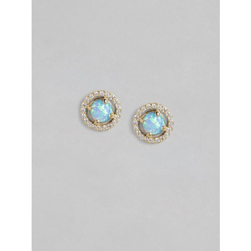 Accessorize Gold-Plated & Blue Opal & CZ Stones Studded Circular Studs