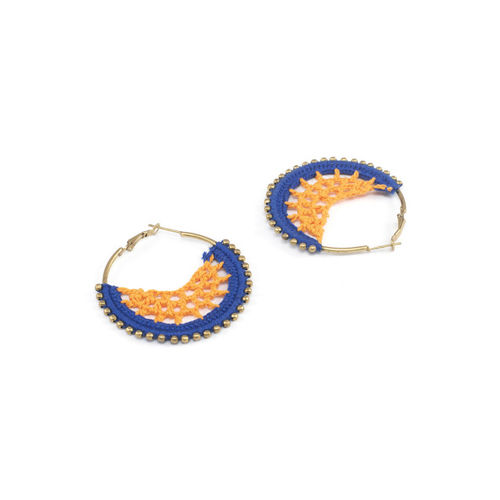 Anetra Orange & Gold-Plated Circular Hoop Earrings