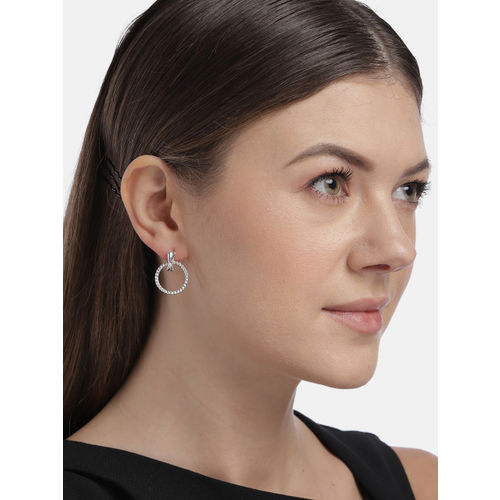 Accessorize Silver-Toned Circular Drop Earrings