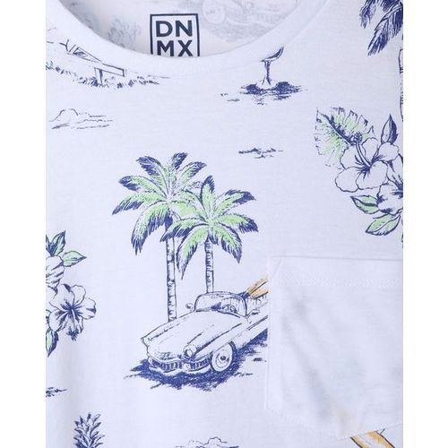 DNMX Tropical Print Pocket Crew-Neck T-shirt