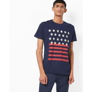 JOHN PLAYERS Printed Crew-Neck Slim-Fit T-shirt