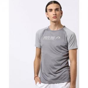 PROLINE Brand Print Crew-Neck T-shirt with Raglan Sleeves