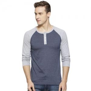 Campus Sutra Colour-block Regular Fit Henley T-shirt
