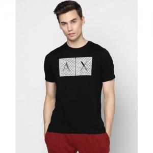 ARMANI EXCHANGE Embossed Typographic Print Slim Fit Crew-Neck T-shirt