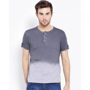 Campus Sutra Ombre-dyed Regular Fit Henley T-shirt
