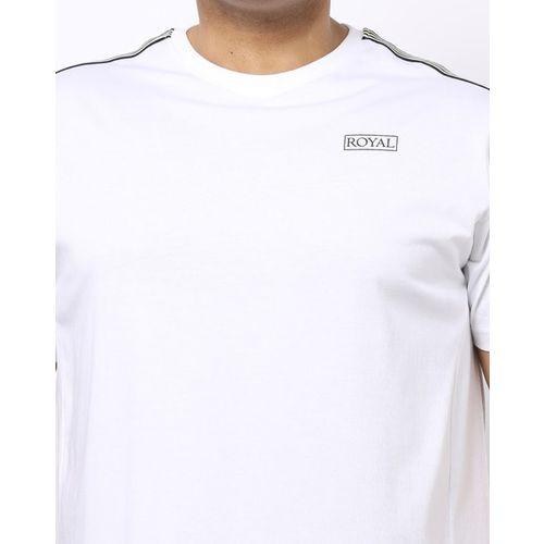 AJIO Crew-Neck T-shirt with Contrast Stripes