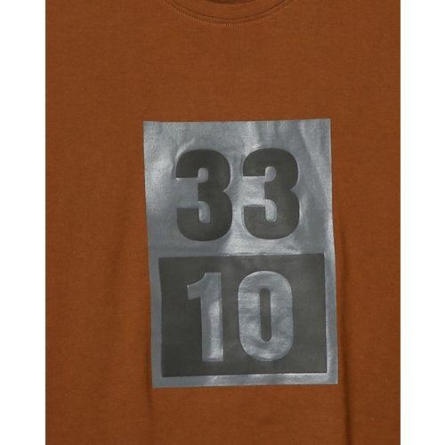 AJIO Embossed Numeric Print Slim Fit T-shirt