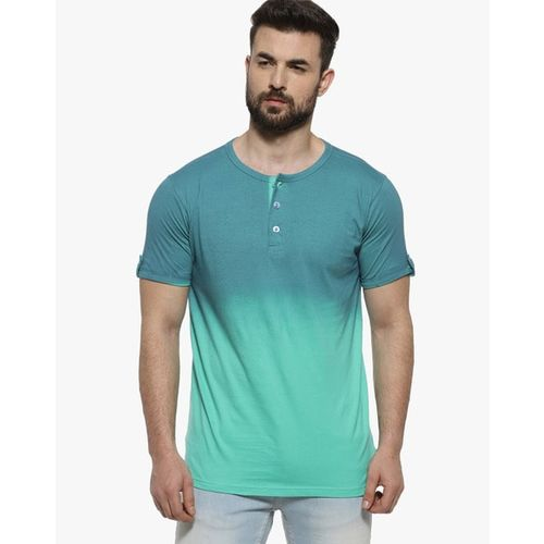 Campus Sutra Ombre-Dyed Henley T-shirt