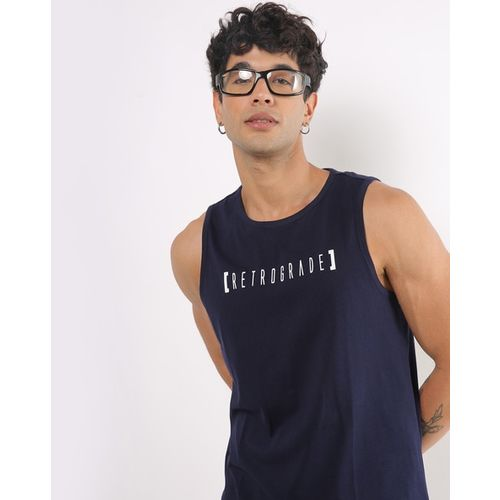 AJIO Typographic Print Crew-Neck Sleeveless T-shirt