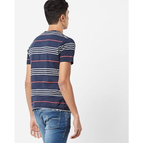 FLYING MACHINE Striped Crew-Neck Pocket T-shirt