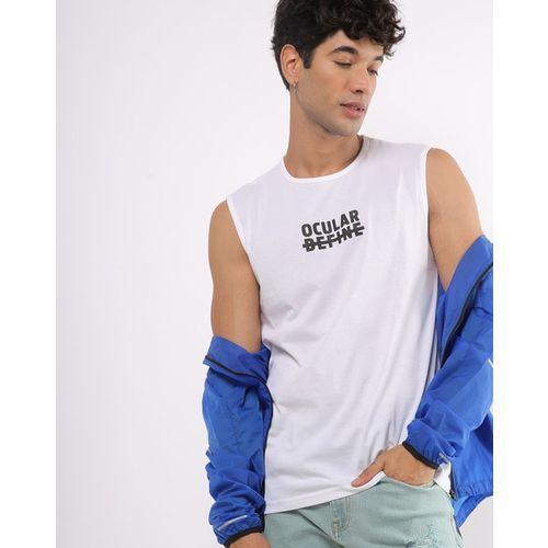 AJIO Sleeveless Typographic Print Crew-Neck T-shirt