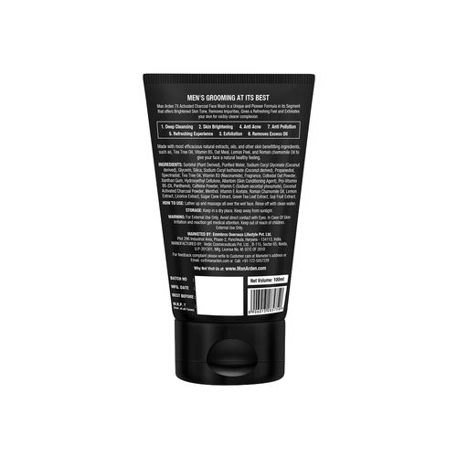 man arden 7x activated charcoal face wash brightening, 100ml - enhanced with vitamin c, menthol