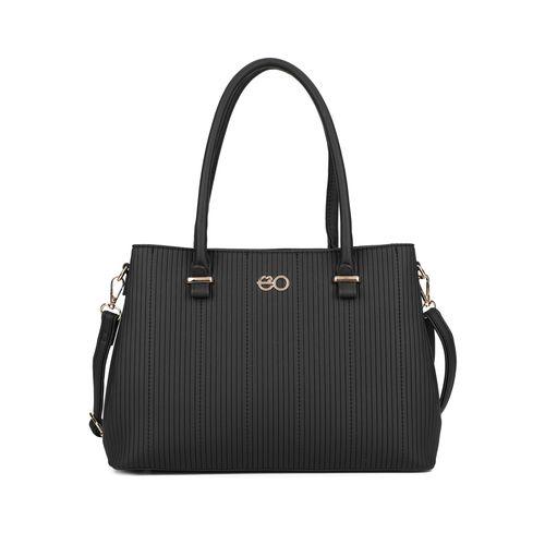 E2O black leatherette (pu) regular handbag